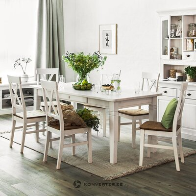 Brūns un balts masīvkoka krēsls (bergen)