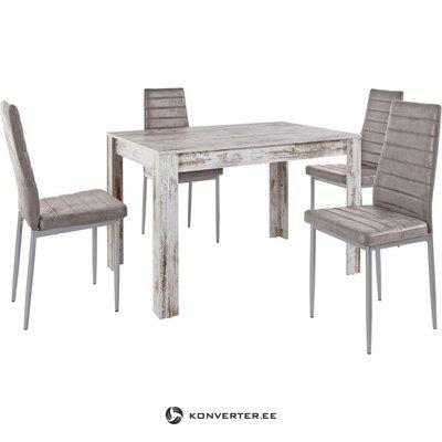 Antīks balts pusdienu galds (120x80) (Lynn)
