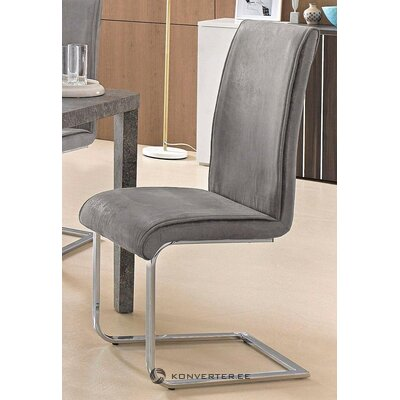 Pilka minkšta kėdė su metaliniu rėmu (malou)
