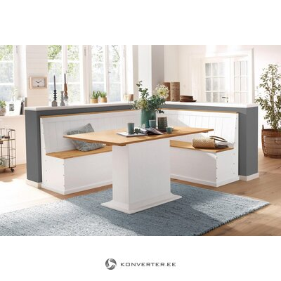 Valge-Pruun Täispuit Nurgapink (200x160cm)