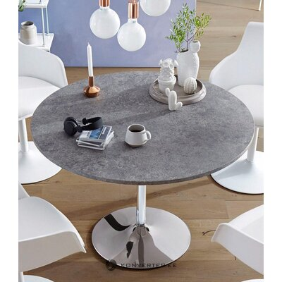 Gray dining table round (whole ,, in a box)