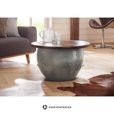 Apvalus rudai pilkos spalvos dizaino stalas