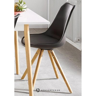 Black design chair on wooden legs