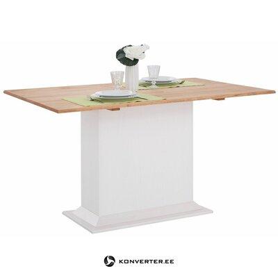 Valko-ruskea massiivipuinen ruokapöytä (sara)