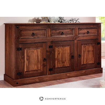 Dark brown solid wood wide chest of drawers