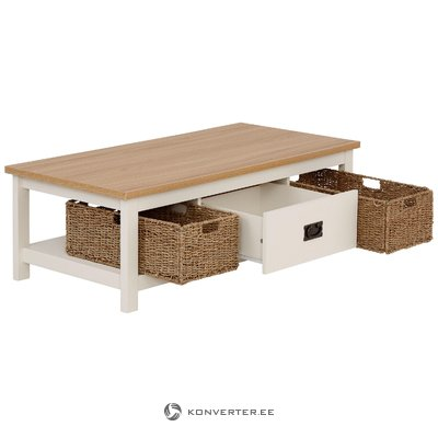 Brown-white solid wood sofa table with 1 drawer and 2 baskets