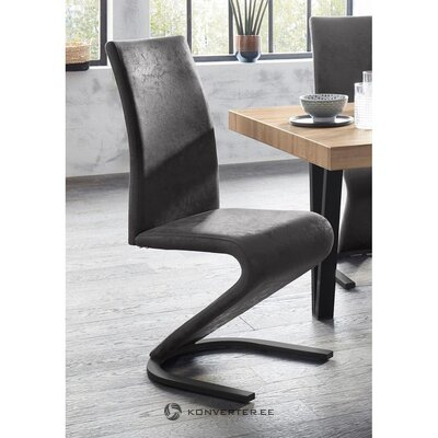 Tumši pelēks dizaina krēsls (ziri) (zāles paraugs, vesels)