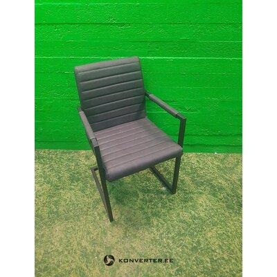 Кожаный серый металлический стул (целиком)