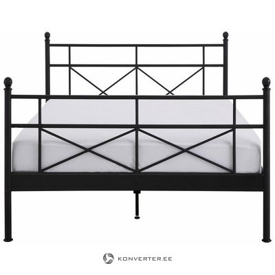 Wider beige metal bed frame (140x200) (thora) (whole, in box)