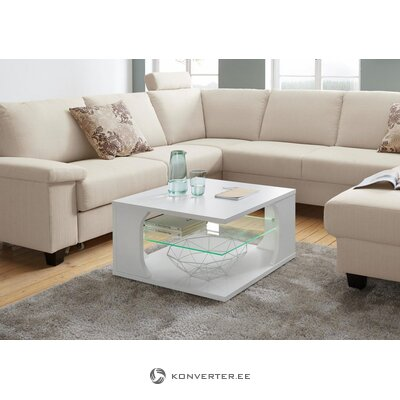 Balts riteņu kafijas galdiņš ar led apgaismojumu (defekti zāles paraugs)