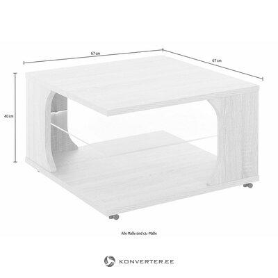 Baltas ratinis žurnalinis staliukas su LED apšvietimu