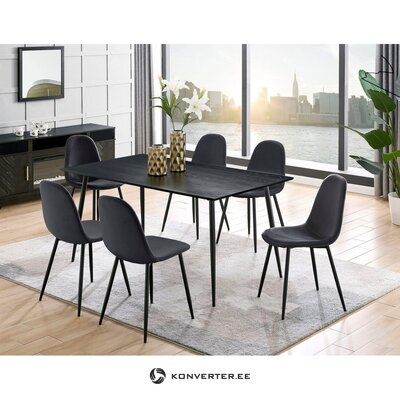 Gray-black soft dining chair (eadwine) (whole)