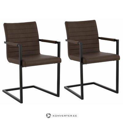 Porankio kėdė su ruda odine danga (visa, dėžutėje)