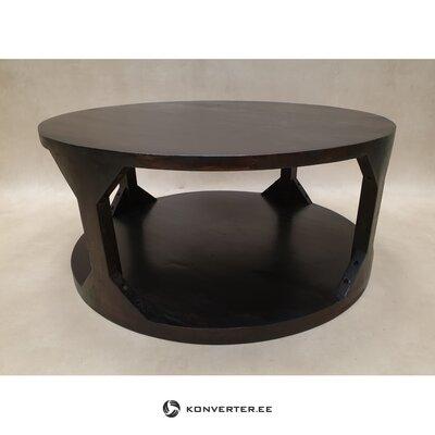 Tumši brūns apaļš masīvkoka kafijas galdiņš