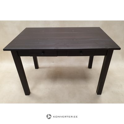 Melna masīvkoka galds ar 2 atvilktnēm