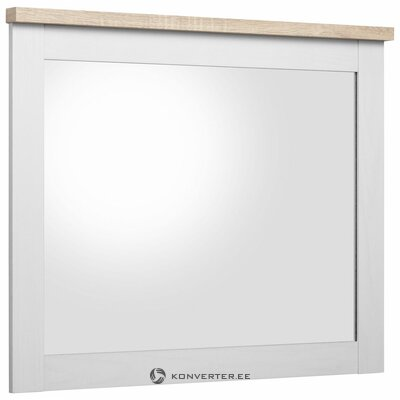 White-brown high gloss wall mirror