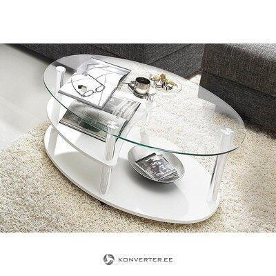 Valge Klaasist Ratastel Diivanilaud (Terve, Karbis)