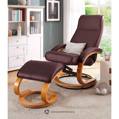 Sarkanbrūns ādas mīkstais krēsls