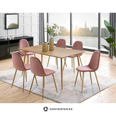 Light brown dining table (160cm) (eadwine) (whole ,, in a box)