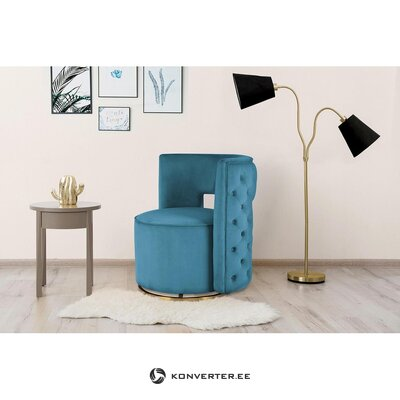 Blue velvet design armchair (lalée) (with flaw hall sample)