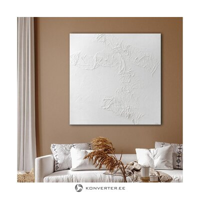 Hand painted canvas picture white passion 100x100 cm