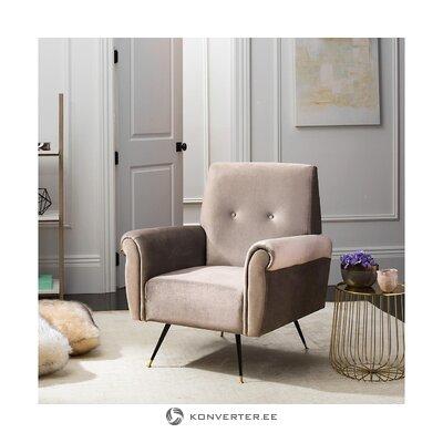 Gray velvet armchair boas (safavieh)