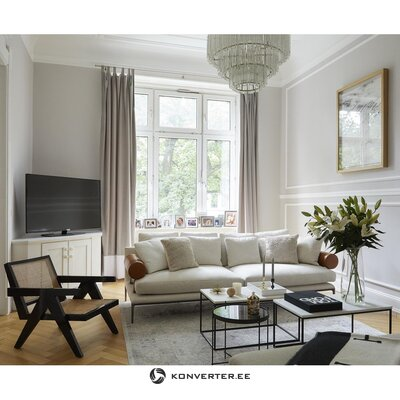 Бежево-черный дизайнерский стул (партизанский) (цельный, образец зала)