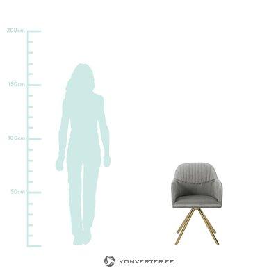 Pilkas aksominis pasukamas fotelis (lola) (sugedęs salės pavyzdys)