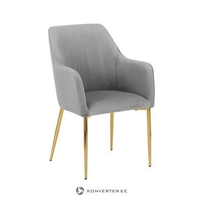 Pilkai aukso spalvos aksominė kėdė (atidaryta) (visa, dėžutėje)