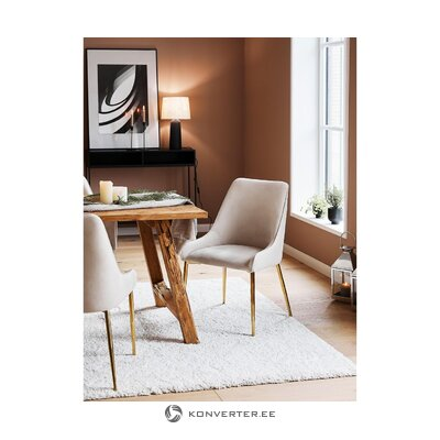Gray-golden velvet chair (aperture) (with flaws, hall sample)