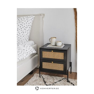 Solid wood black bedside table (vienna) (whole, in box)