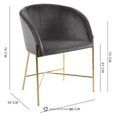 Tummanharmaa samettipehmeä tuoli (interstil dänemark) (kokonainen, laatikossa)
