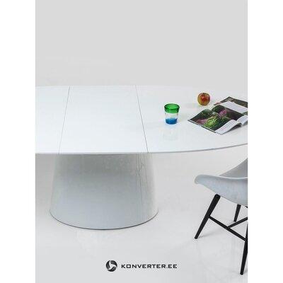 Ovalus, blizgus išplečiamas valgomojo stalas (šiurkštus) (dėžutėje, visas)