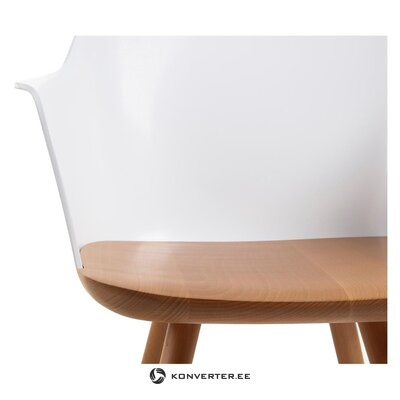 Solid wood brown-white armchair (la forma) (with flaw hall sample)