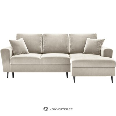 Beige velvet corner sofa bed mogan (micadoni home)