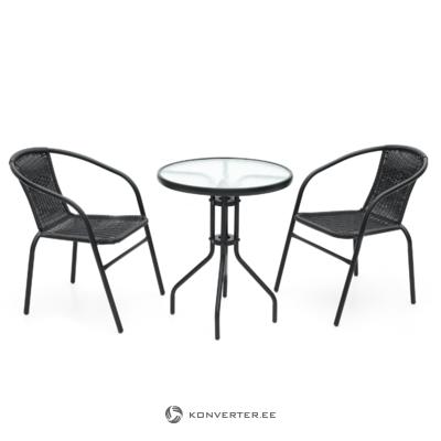 Melns apaļais dārza galds (4living)
