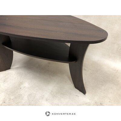 Tumši brūns ovāls kafijas galdiņš ar plauktu